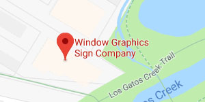 Map to Window Graphics Sign Company Showroom in Campbell, CA